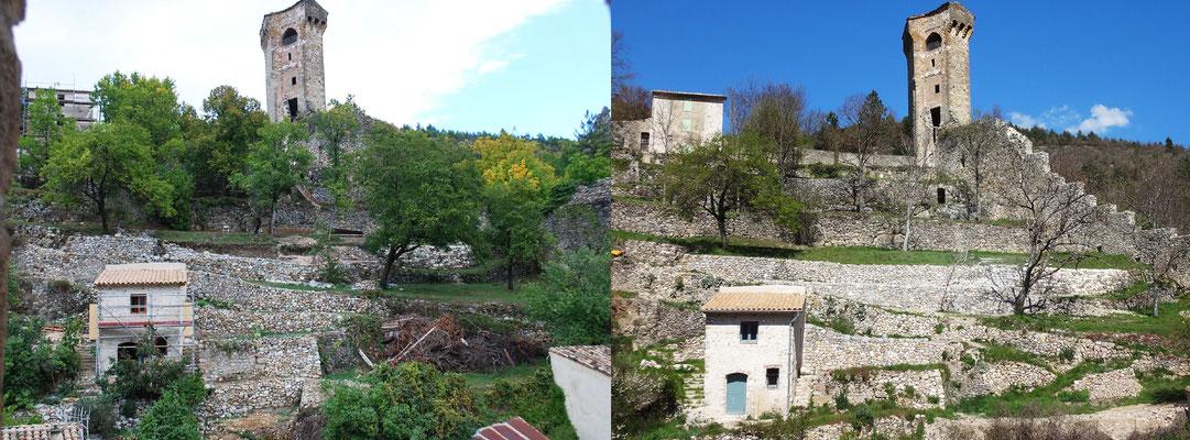 Vue avant/après intervention. Photo prise depuis le clocher de l'église Saint-Victor