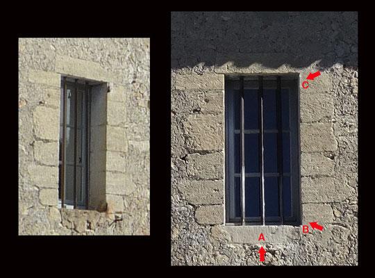 """Avant et après intervention. L'ancien appui de fenêtre A a été retiré et remplacé par une pierre issue du calcaire du plateau de Ganagobie. Les gonds B et C sont démis et rebouchés avec un enduit à la chaux aérienne """"fausse pierre"""""""