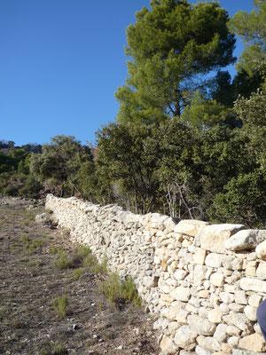 On ne peut que constater la section imposante de ce mur (à double parement)