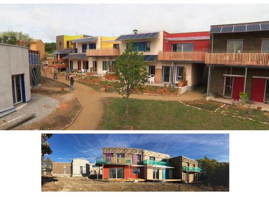 A quelques centaines de mètres du chantier, se dresse le village des Colibres. Il s'agit d'un collectifs d'habitants qui s'est fait promoteur pour construire son hameau écologique et participatif.