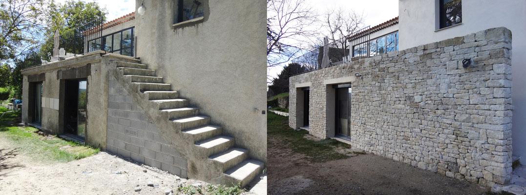 Vue avant/après. L'escalier est totalement occulté mais permet d'accéder depuis l'extérieur à la terrasse située à l'étage
