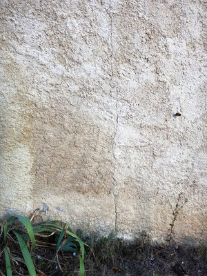 La même lézarde en soubassement de mur