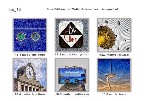 """set_18 """"33er_edition"""" der Motiv-Untersetzer · im quadrat · yak © 2015 RK"""