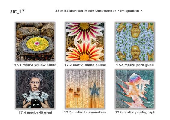 """set_17 """"33er_edition"""" der Motiv-Untersetzer · im quadrat · yak © 2015 RK"""