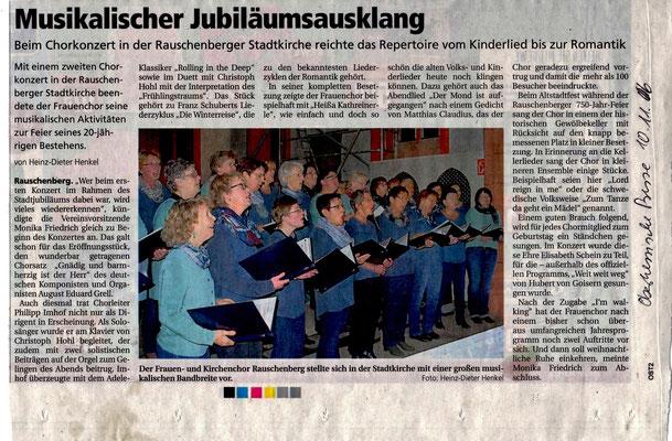 Jubiläumskonzert Kirchen- und Frauenchor Rauschenberg