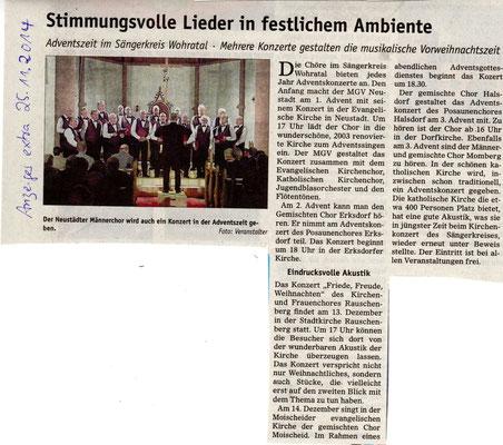 Vorankündigung Konzerte im Advent 2014