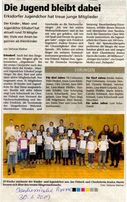 Ehrung im Kinder- und Jugendchor Erksdorf