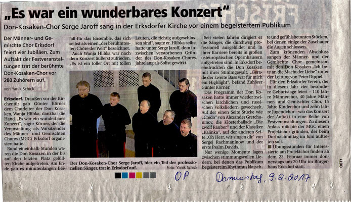 Jubiläumskonzert Erksdorf mit den Don Kosaken