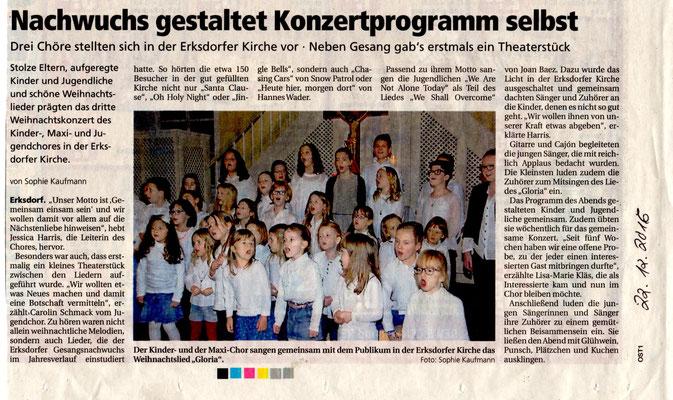 Weihnachtskonzert Kinderchor Erksdorf 2016