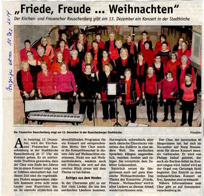Ankündigung Konzert in Rauschenberg-Weihanchten 2014
