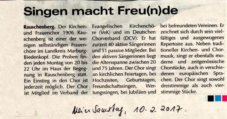 Info über Frauenchor Rauschenberg