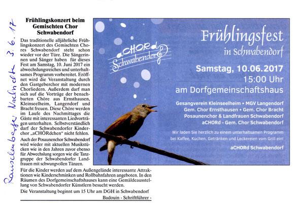 Vorankündigung Frühlingsfest Schwabendorf