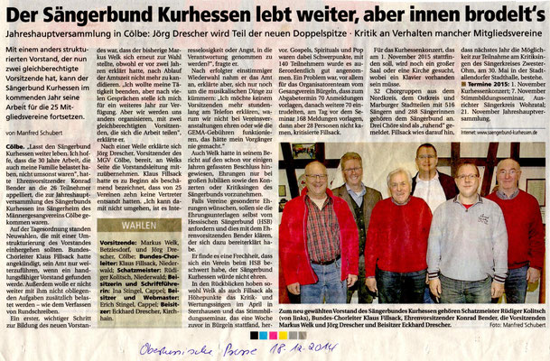 Sängerkreis Kurhessen Vorstandswahlen