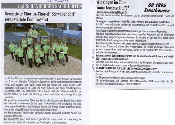 Schwabendor- Sommerfest und Ernsthausen- Mitgliedersuche