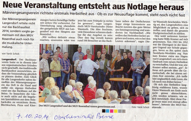 Herbstfest in Langendorf