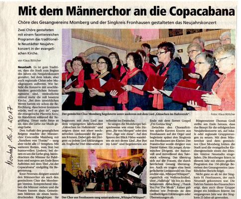 Gesangverein Momberg beim Neujahrskonzert in Neustadt - Jan. 2017