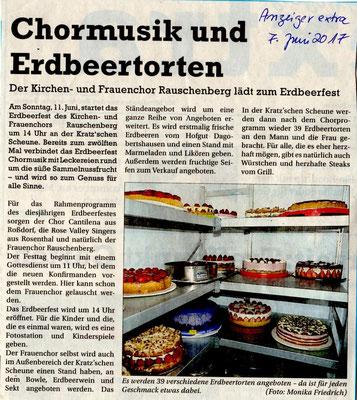 Vorankündigung Erdbeerfest- Anzeiger
