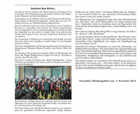 """Neustädter Mitteilungsblatt -Konzert in MOmberg 2014""""Jauchzet dem Herrn"""""""