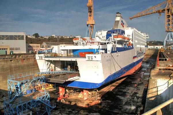 Armorique en cale sêche. Photo Brittany Ferries.