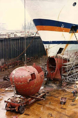 Construction d'un bulbe sur le M/V Tregastel, photo : DR
