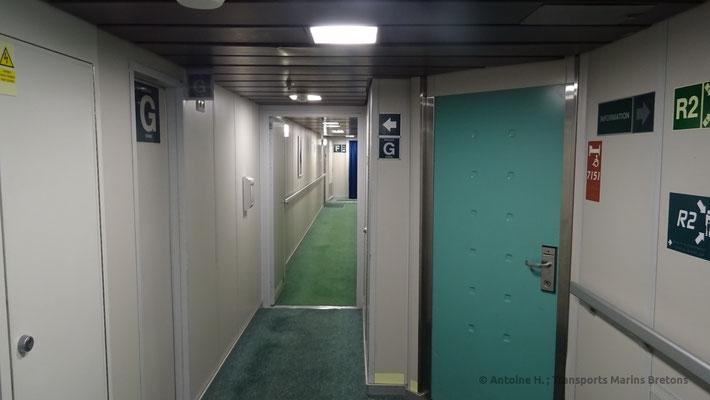 Couloir amenant vers les cabines de Normandie
