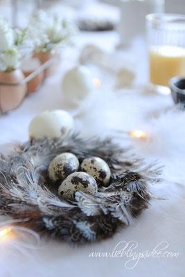 Natürliche Tischdekoration für Ostern