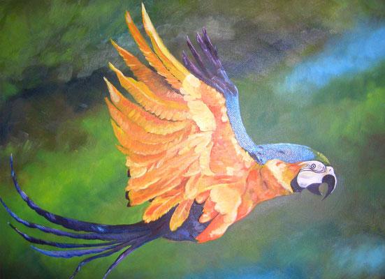 Vogel im Paradies in Öl