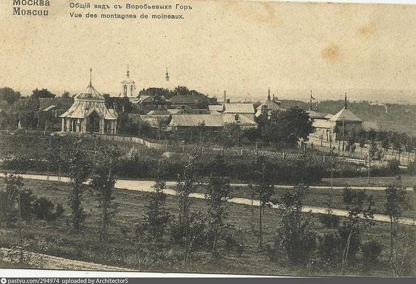 Вид на само село Воробьёво и царский павильон. Обратите внимание, какой милый штакетник огораживает территорию резервуара