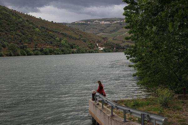 Sarah am Douro ohne Geländer, Standplatz Pinohao