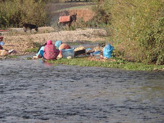 Frauen beim Wolle waschen bei Ouzoud