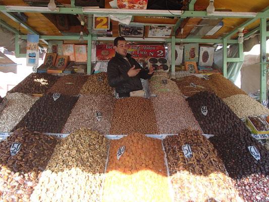 Trockenfrüchtehändler, Platz der Gehängten, Marakesch