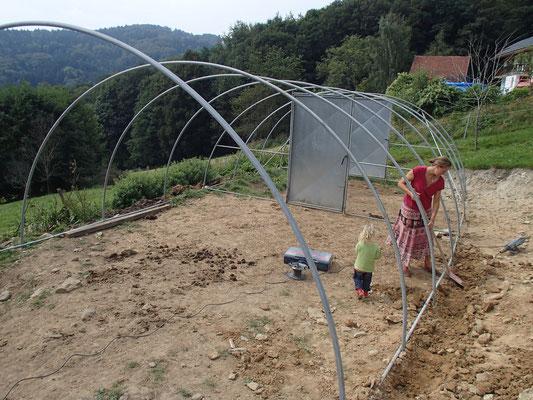 Gewächshausbau auf dem Eselhof
