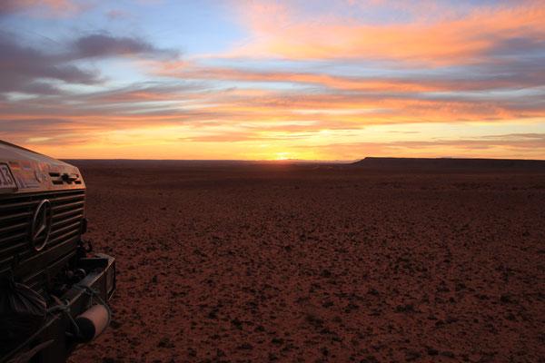 Sonnenuntergang, 2. Standplatz Richtung Boudenib