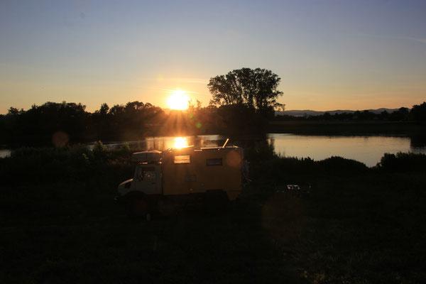 Sonnenuntergang Standplatz an der Saone