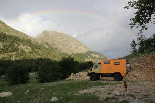 Regenbogen am Standplatz NP Lovcen