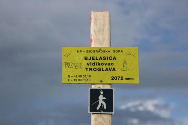 Gipfel Nähe Standdplatzz, NP Biogradska