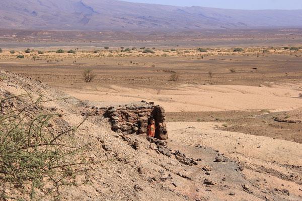 Hütten am Fuß des Tafelbergs