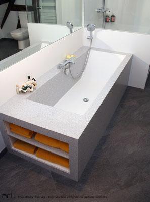 Particulier salle de bain transformateur de r sine de for Rangement baignoire