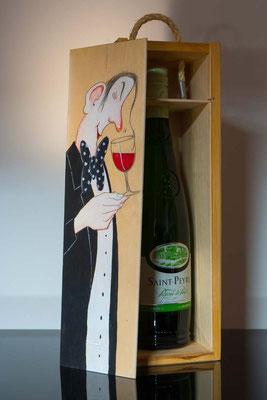Ein edler Wein in der Geschenkebox, Fichte natur, handbemalt