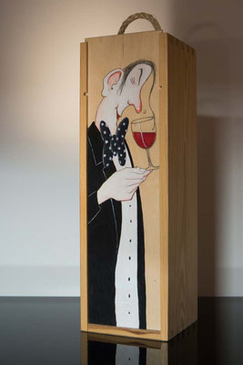 Geschlossene Weingeschenkebox, Fichte natur, handbemalt
