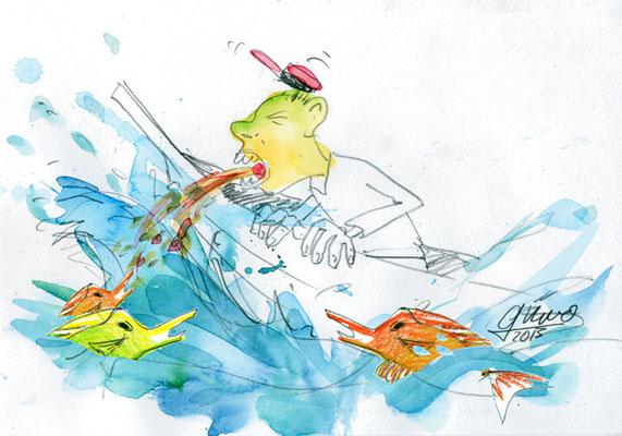Fischfütterung (Aquarell und Bleistift)