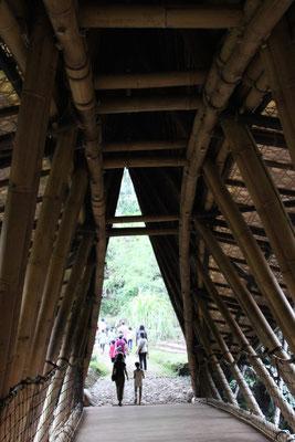 Bambushängebrücke über den Fluss