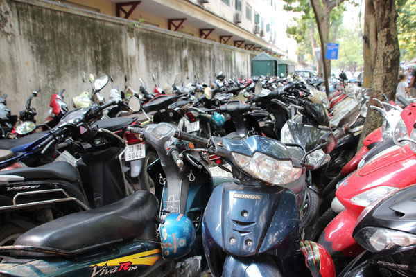 Töffparking in Hanoi, Vietnam