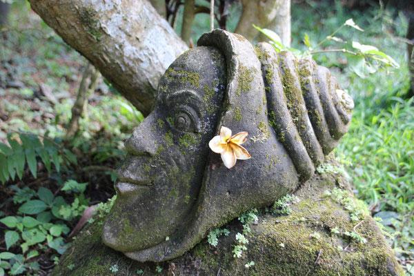 Das Schneckengesicht, Steinkunst in einem Garten