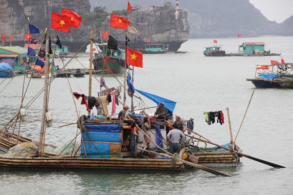 Hausboote geschmückt mit vielen Fahnen, Cat Ba