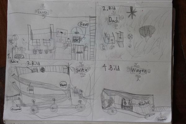 Mara zeichnete viele Pläne