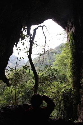 Aussicht von der Wohnhöhle die vor mindestens 7500 Jahren bewohnt war, Cuc Phuong NP