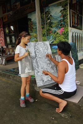 Künstler beim Malen beobachten, Bali