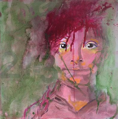 VERKAUFT   Acryl auf Leinwand   Titel: Behinderte Betrachtung   Größe: 80 x 80