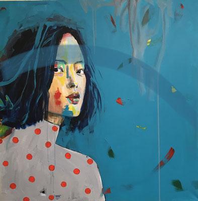 VERKAUFT    Acryl auf Leinwand   Titel: Blick nach vorn oder zurück   Größe: 80 x 80